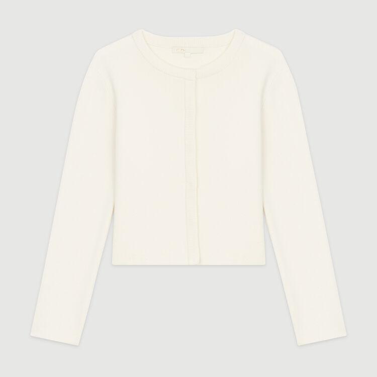 Cardigan court en coton mélangé : Maille couleur ECRU