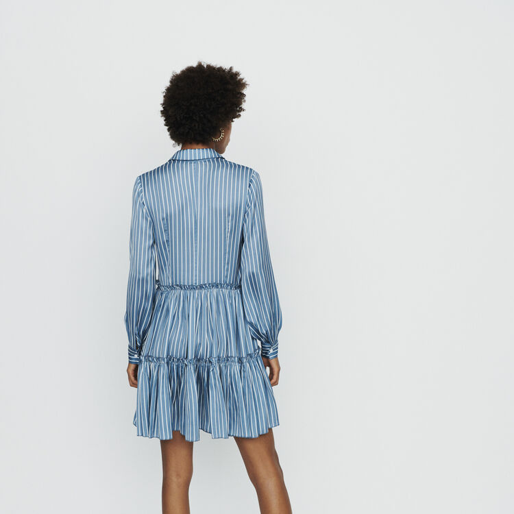 Robe-chemise à rayures avec volants : Robes couleur Rayure