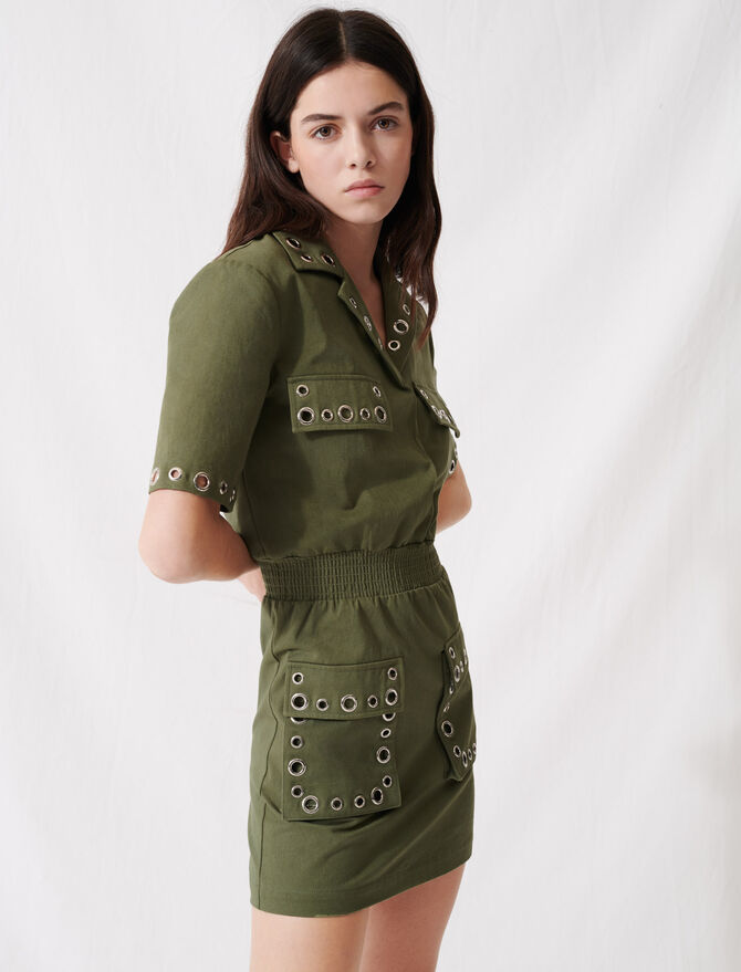 Robe façon saharienne kaki à œillets - Robes - MAJE
