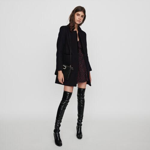 Manteau en drap de laine et velours : Manteaux & Blousons couleur Noir