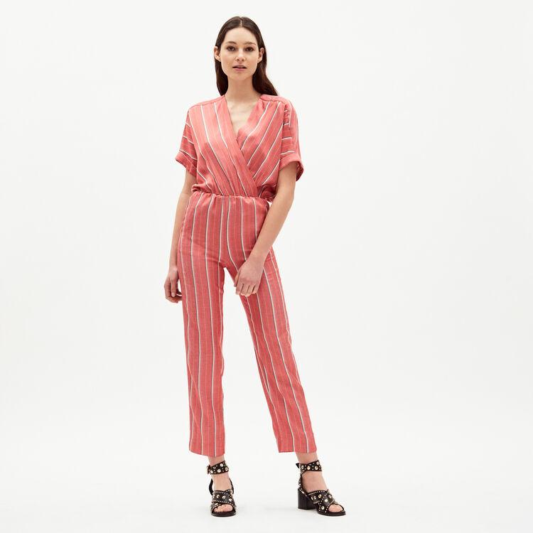 Combi-pantalon en jacquard rayé : Combinaisons couleur Rayure