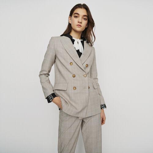 Veste à carreaux double boutonnage : Vestes couleur CARREAUX