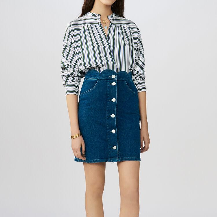 Jupe en denim avec découpe fantaisie : Jupes & Shorts couleur Denim