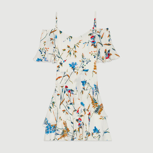Robe courte imprimée à épaules dénudées : Robes couleur Imprime