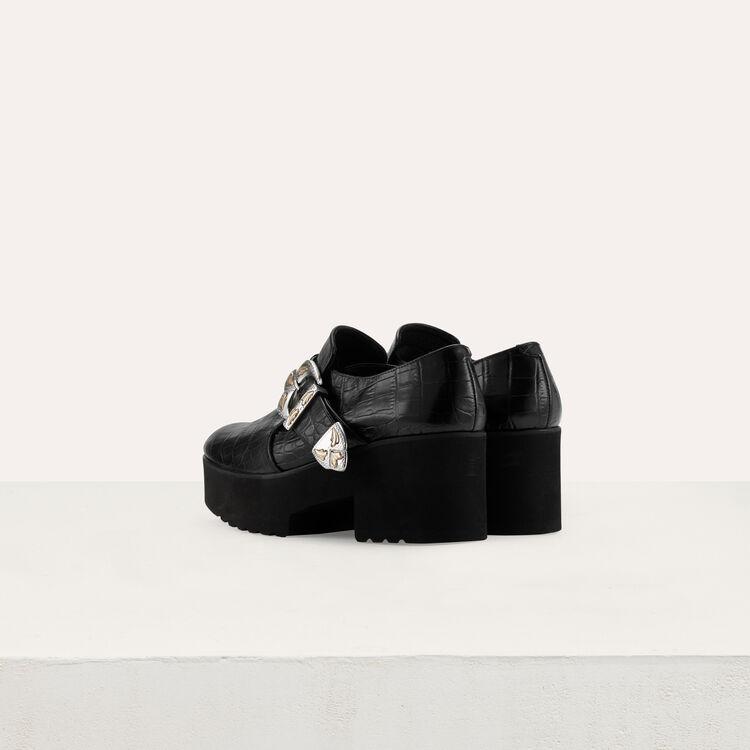 Derbys plateforme en cuir : Chaussures plates couleur Black