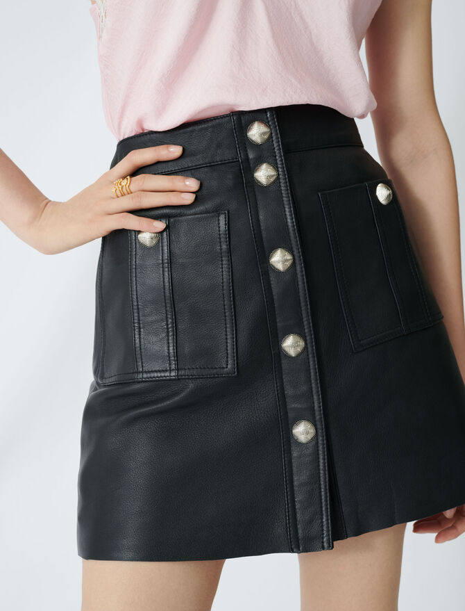 Jupe trapèze boutonnée en cuir - Jupes & Shorts - MAJE