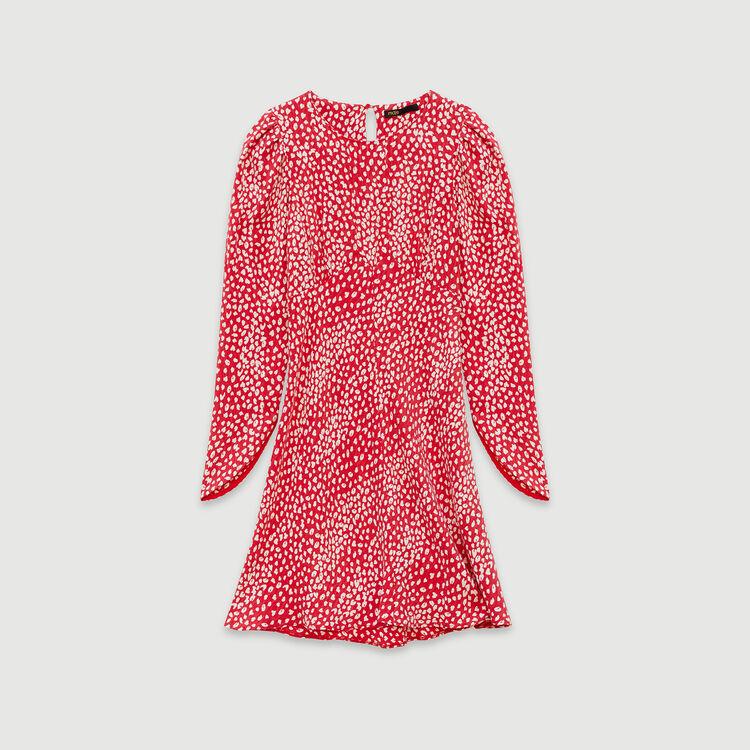 Robe froncée en jacquard imprimé : Robes couleur Rouge