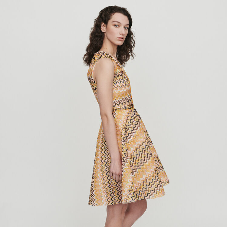 Robe patineuse en maille rayée : Robes couleur MULTICO