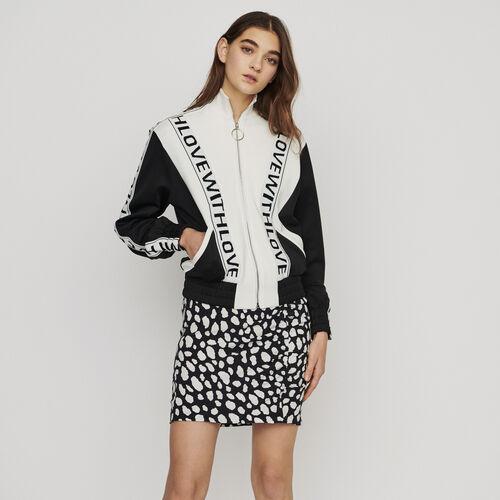 Sweat-shirt zippé et bandes à message : Pulls & Cardigans couleur BLACK