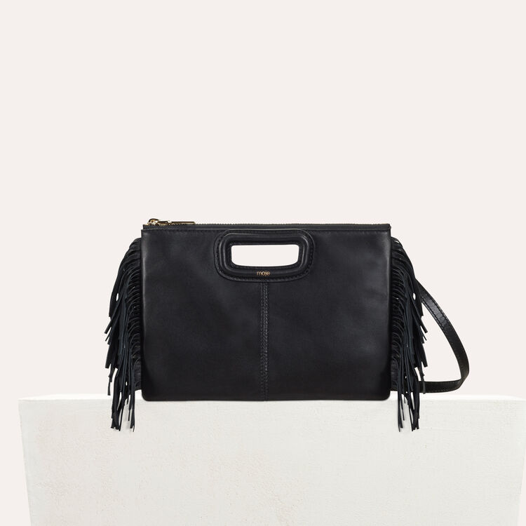 Pochette M Duo encuir : Cuir couleur Black