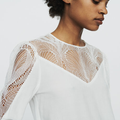 4f21836105b Tops   Chemises true Top avec dentelle   Tops   Chemises couleur Blanc