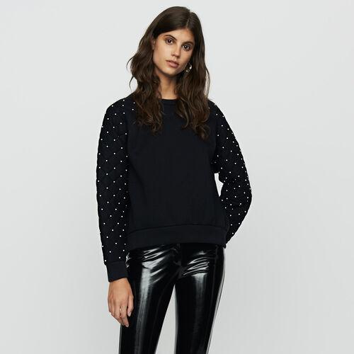 Sweat-shirt avec perles : Sweats couleur Black