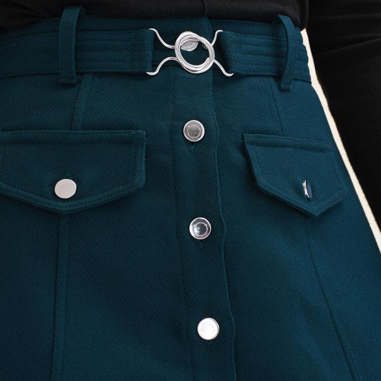 Jupe trapèze ceinturée : Jupes & Shorts couleur Vert
