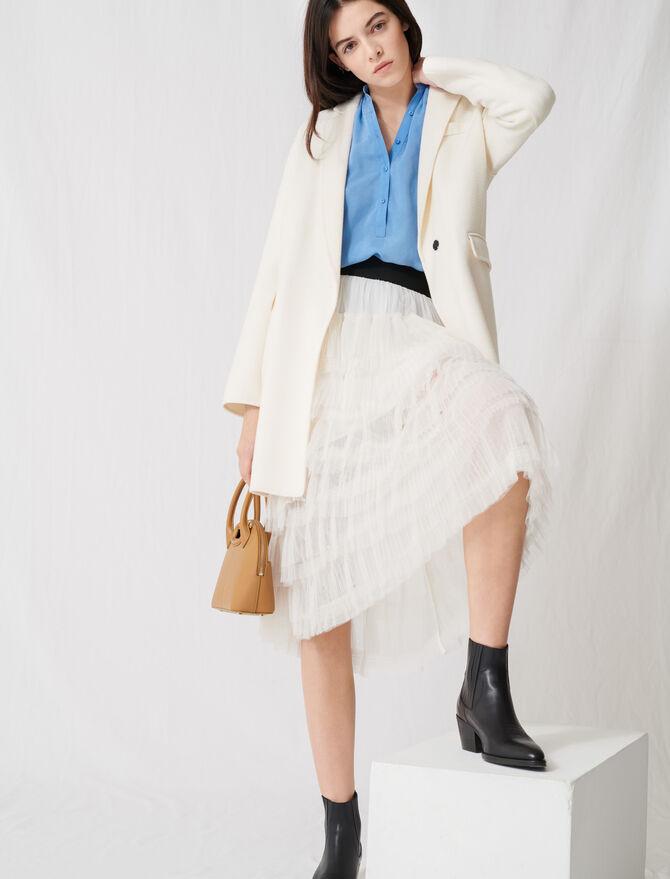 Manteau blanc double-face mi-long - Manteaux - MAJE