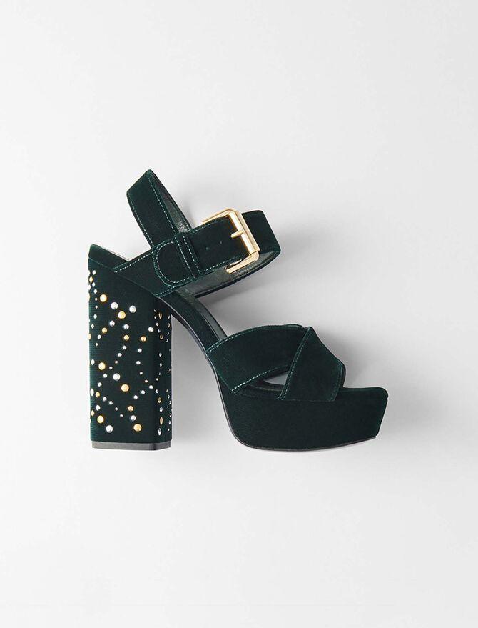 Sandales plate-forme en velours et studs -  - MAJE