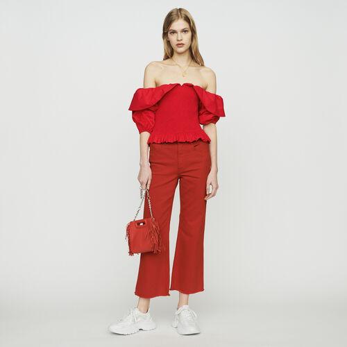 Top smocké à épaules dénudées : Tops & Chemises couleur Rouge