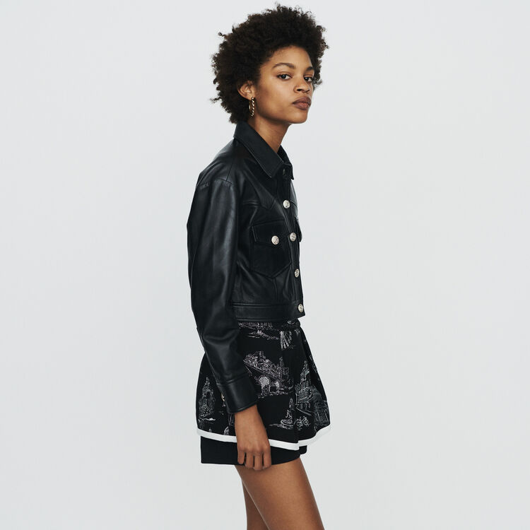 Veste courte en cuir : Manteaux & Blousons couleur Black