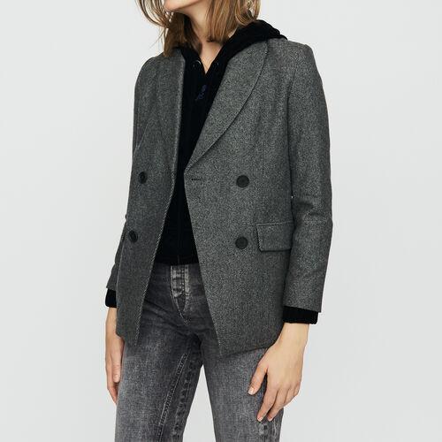 Blazer en laine mélangée : Vestes couleur Gris