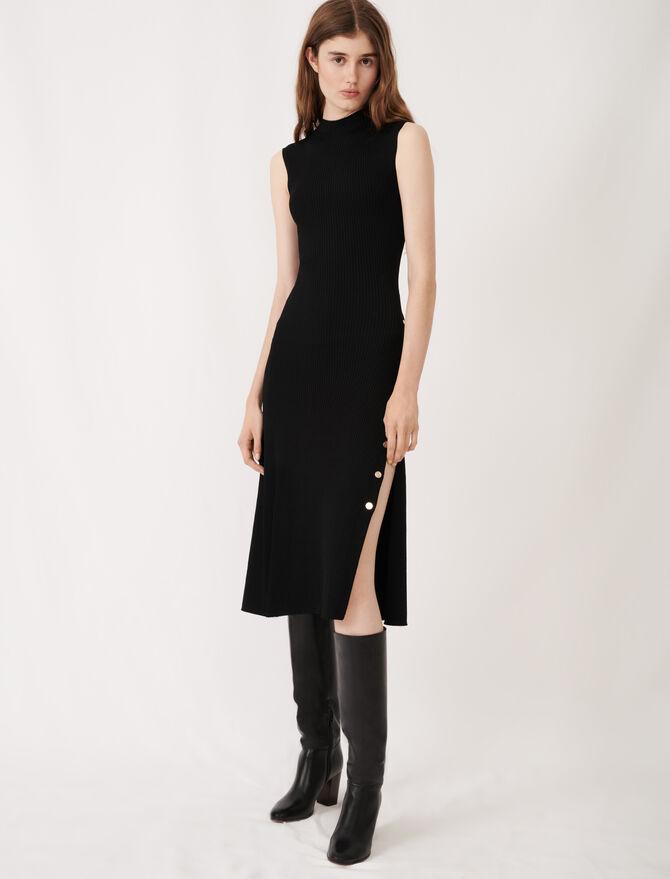 Robe fendue en maille stretch - Robes - MAJE