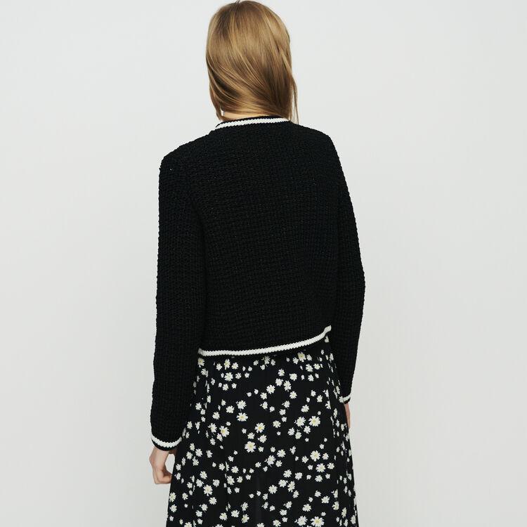 Cardigan court en maille : Maille couleur Black