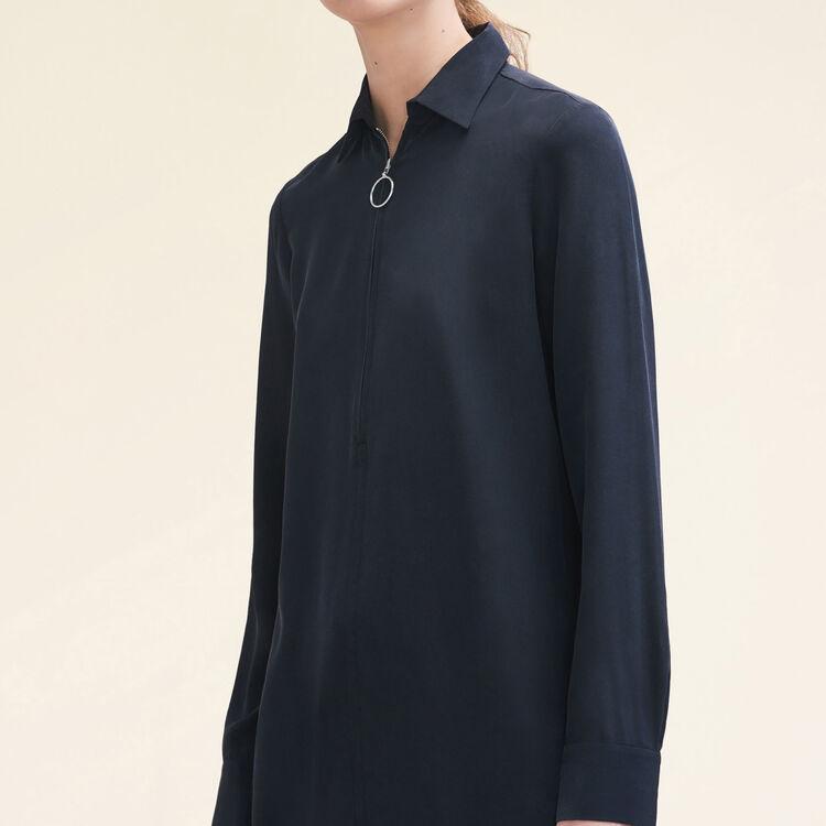Chemise en soie avec zip : Tops couleur Black