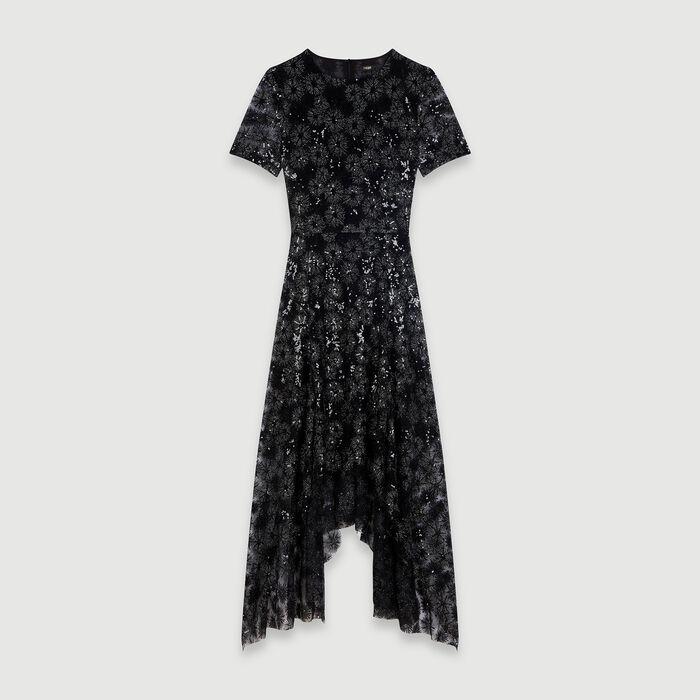 Robe longue en tulle brodé de sequins : Robes couleur Noir