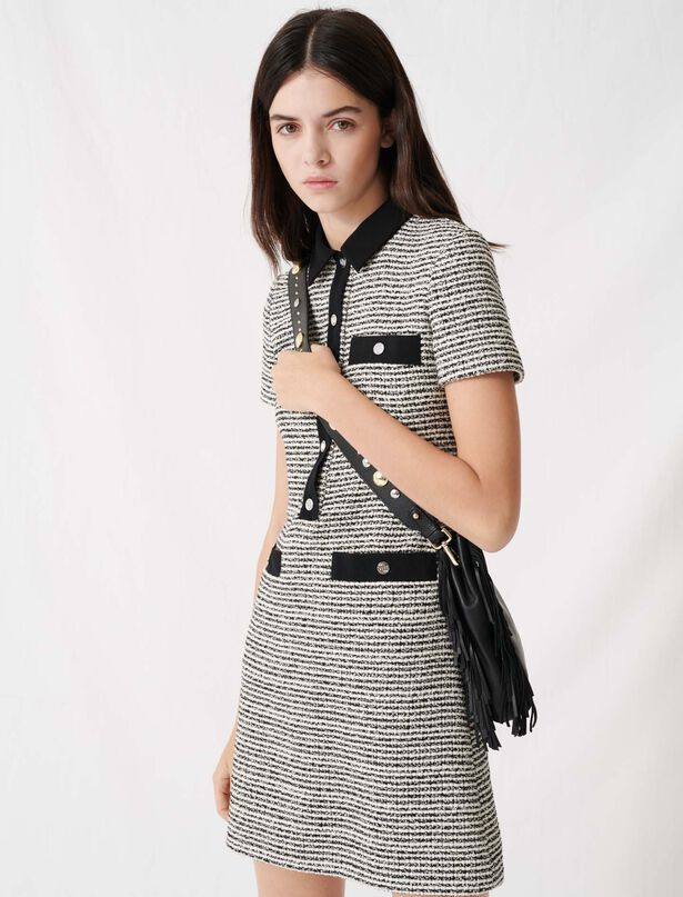 마쥬 트위드 미니 원피스, 리본 벨트 탈착 가능 (지효 착용) MAJE 220RENALA Robe facon tweed ceinturee,Noir / blanc