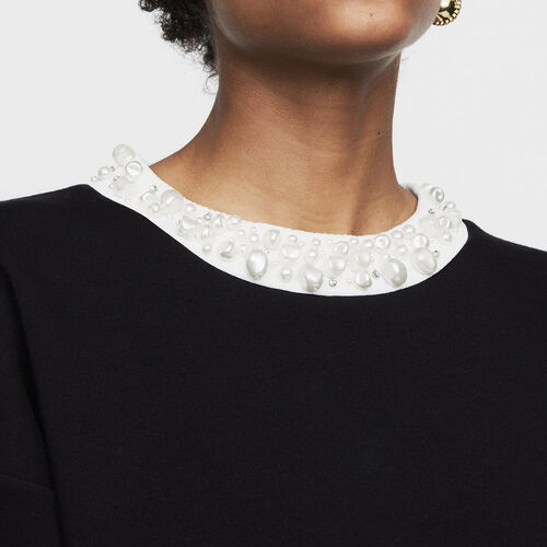 Sweat-shirt molletonné avec perles : Sweats couleur Black