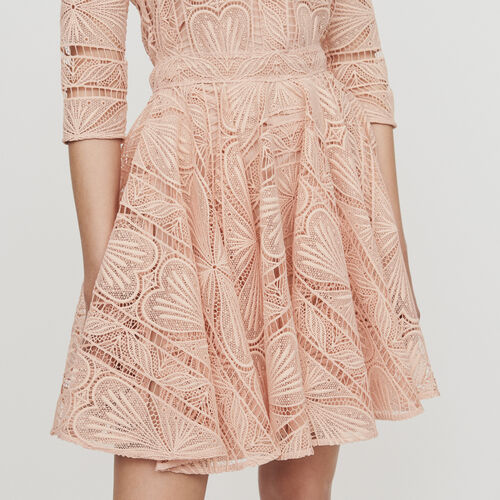Robe patineuse en guipure : Robes couleur Terracotta