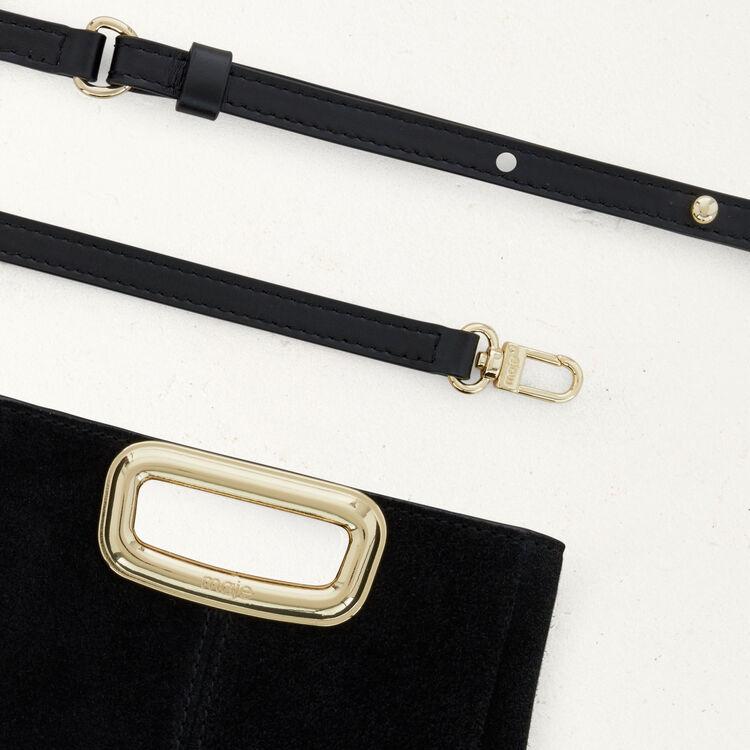 Sac M Mini Skin en suède et métal doré : M Mini couleur Black