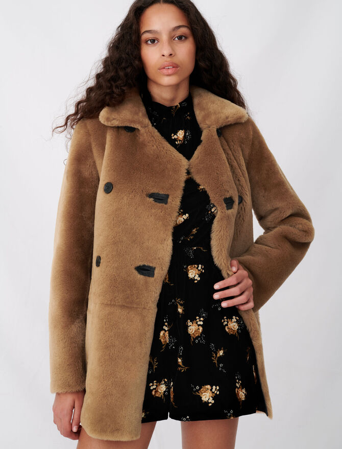 Manteau en peau lainée réversible - Manteaux & Blousons - MAJE
