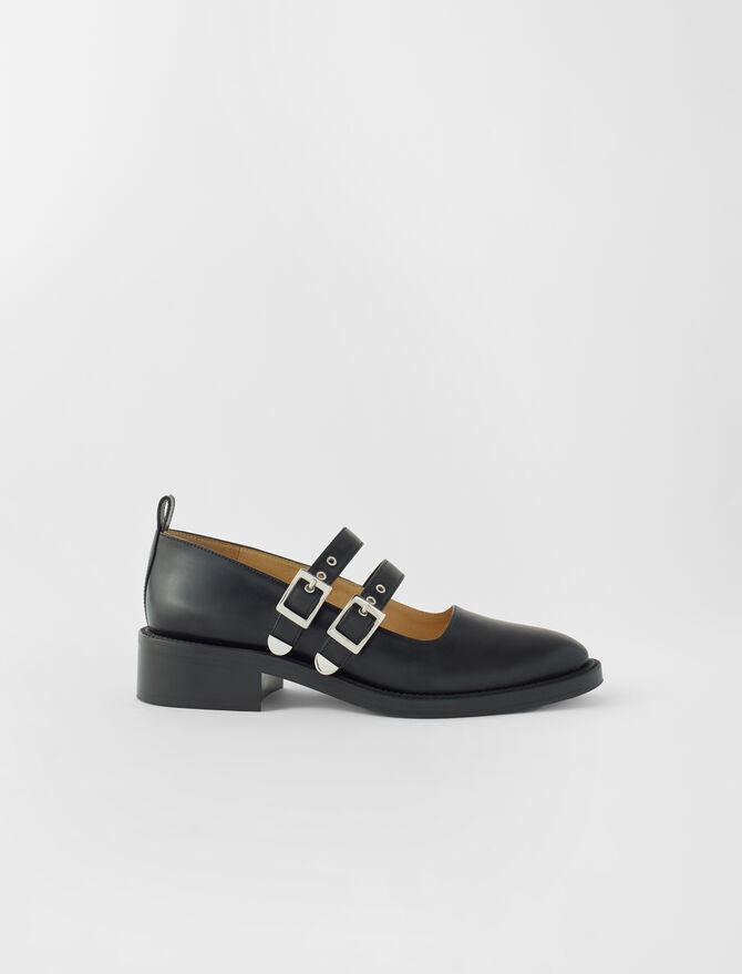 Babies plates à brides en cuir noir - Toutes les chaussures - MAJE