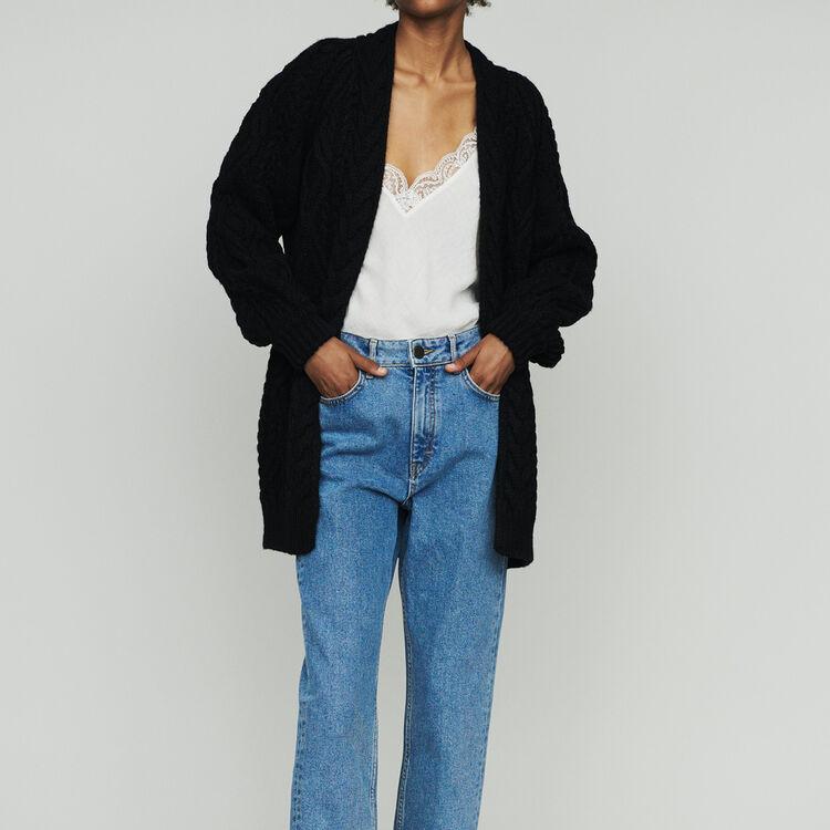 Cardigan oversize en maille torsadée : Maille couleur Black