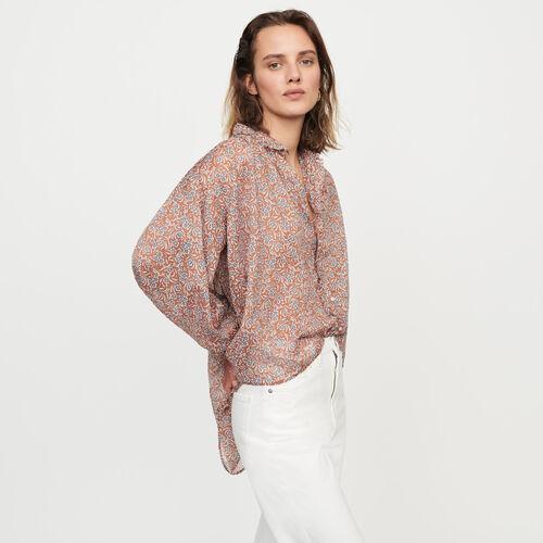 Chemise en voile de coton imprimé : Tops & Chemises couleur Terracotta