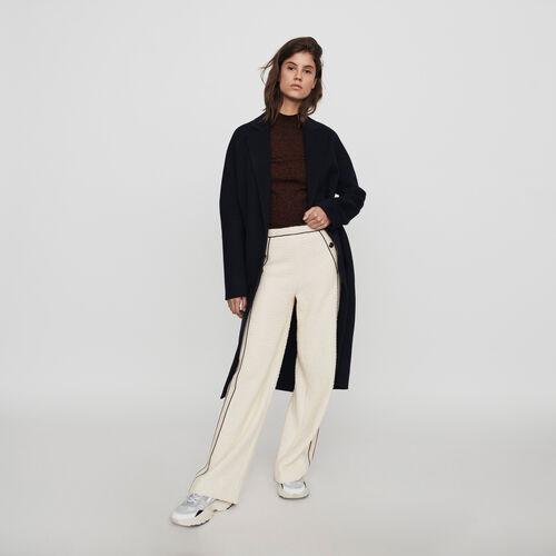Pantalon large contrasté façon tweed : Collection hiver couleur ECRU