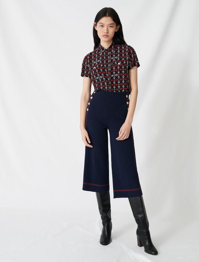 Pantalon évasé à surpiqûres contrastées - Pantalons & Jeans - MAJE