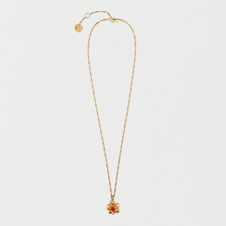Collier fleur rouge : Collection été couleur OR