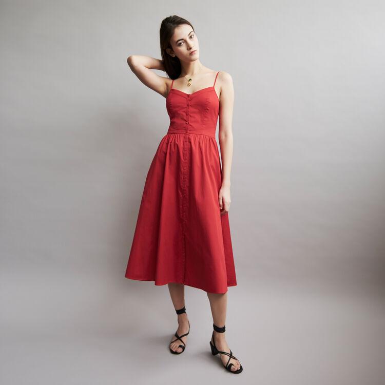 Robe midi en coton à fines bretelles : New Collection couleur ROUGE