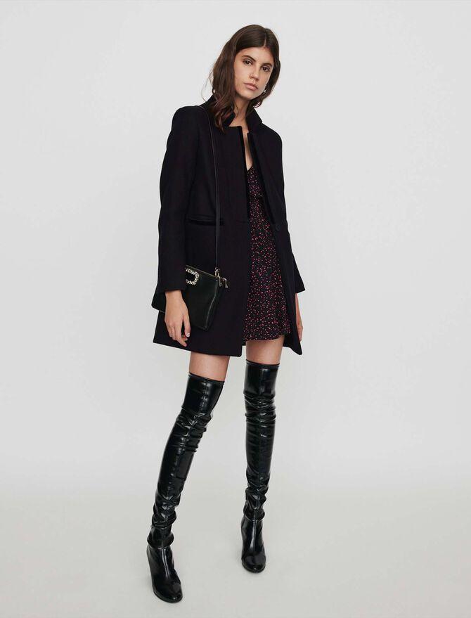 Manteau en drap de laine et velours - Valeurs sûres - MAJE