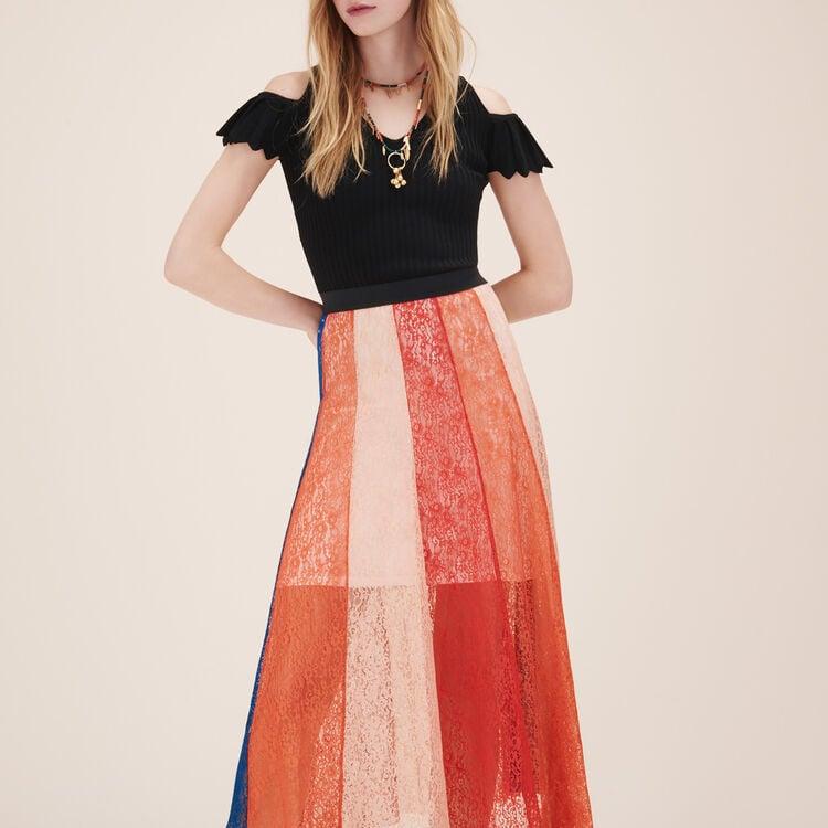 Jupe longue avec bandes de dentelle : Jupes & Shorts couleur MULTICOLOR