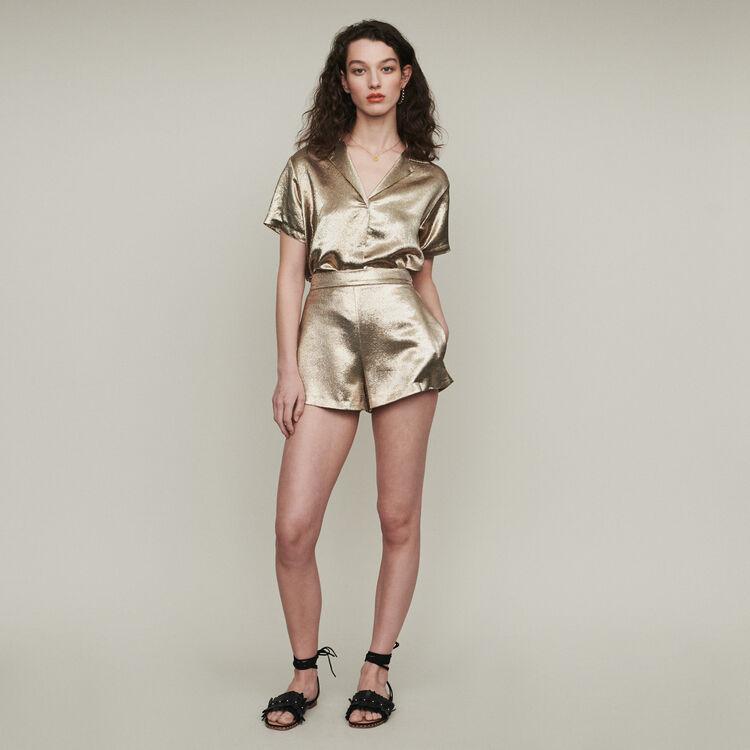 Short en soie mélangée : Jupes & Shorts couleur Gold