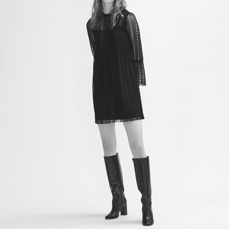 Robe fluide avec plumetis : Robes couleur Black