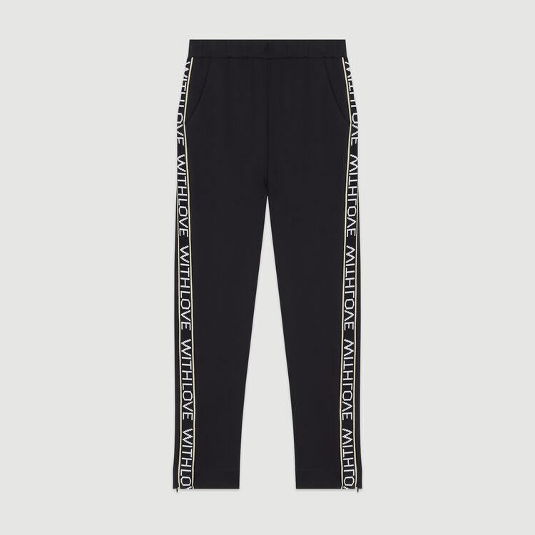 Pantalon élastiqué et bandes à message : Pantalons & Jeans couleur Black