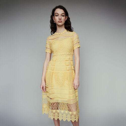 Robe longue en guipure : Robes couleur Jaune