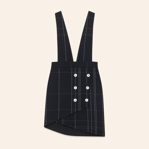 Jupe tartan à bretelles : Jupes & Shorts couleur MARINE