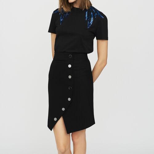 Jupe crayon avec boutons : Jupes & Shorts couleur Black