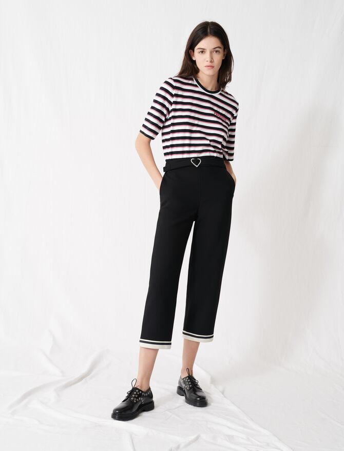 Pantalon à boucle cœur et ourlets sporty - Pantalons & Jeans - MAJE