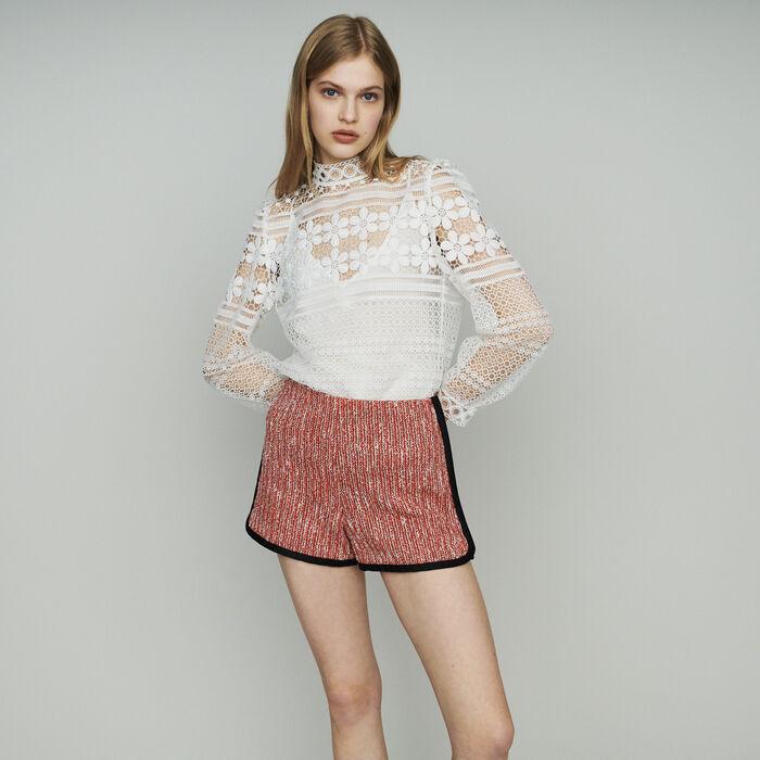 Short façon tweed : Jupes & Shorts couleur Rouge