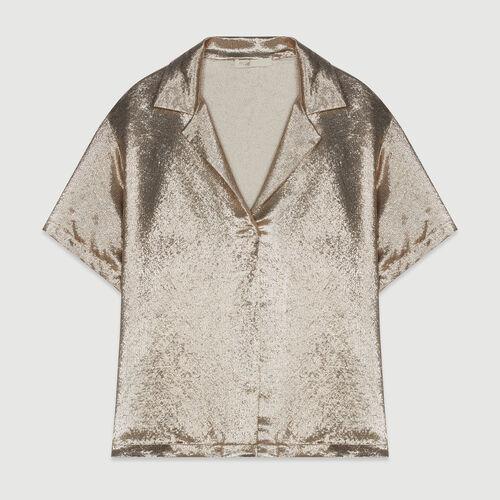 Chemise en soie mélangée : Tops & Chemises couleur GOLD