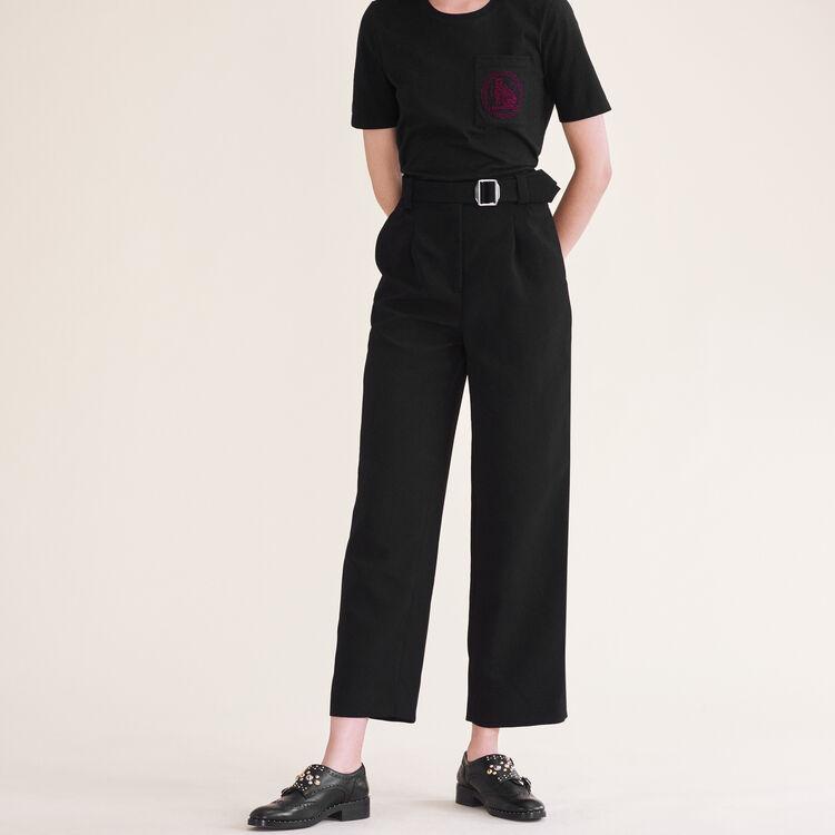 Pantalon large avec ceinture : Pantalons & Jeans couleur Black